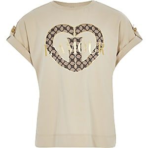 Girls beige 'Lamour' printed utility T-shirt