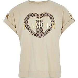 """Beiges Utility-T-Shirt mit """"L'amour""""-Print für Mädchen"""