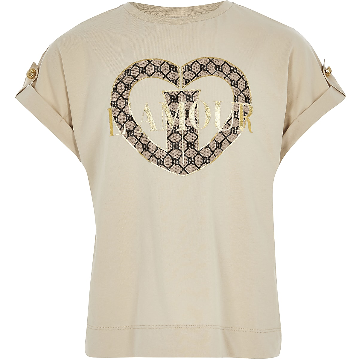 Beige utility T-shirt met 'L'amour'-print voor meisjes