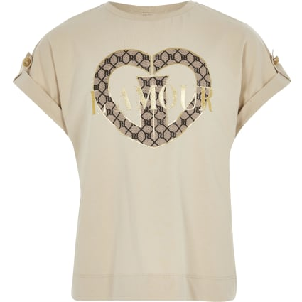 Girls beige 'L'amour' printed utility T-shirt