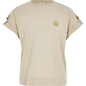 Girls beige RI utility T-shirt