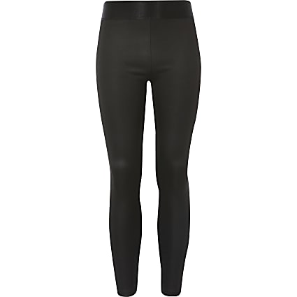 Girls black coated jersey leggings