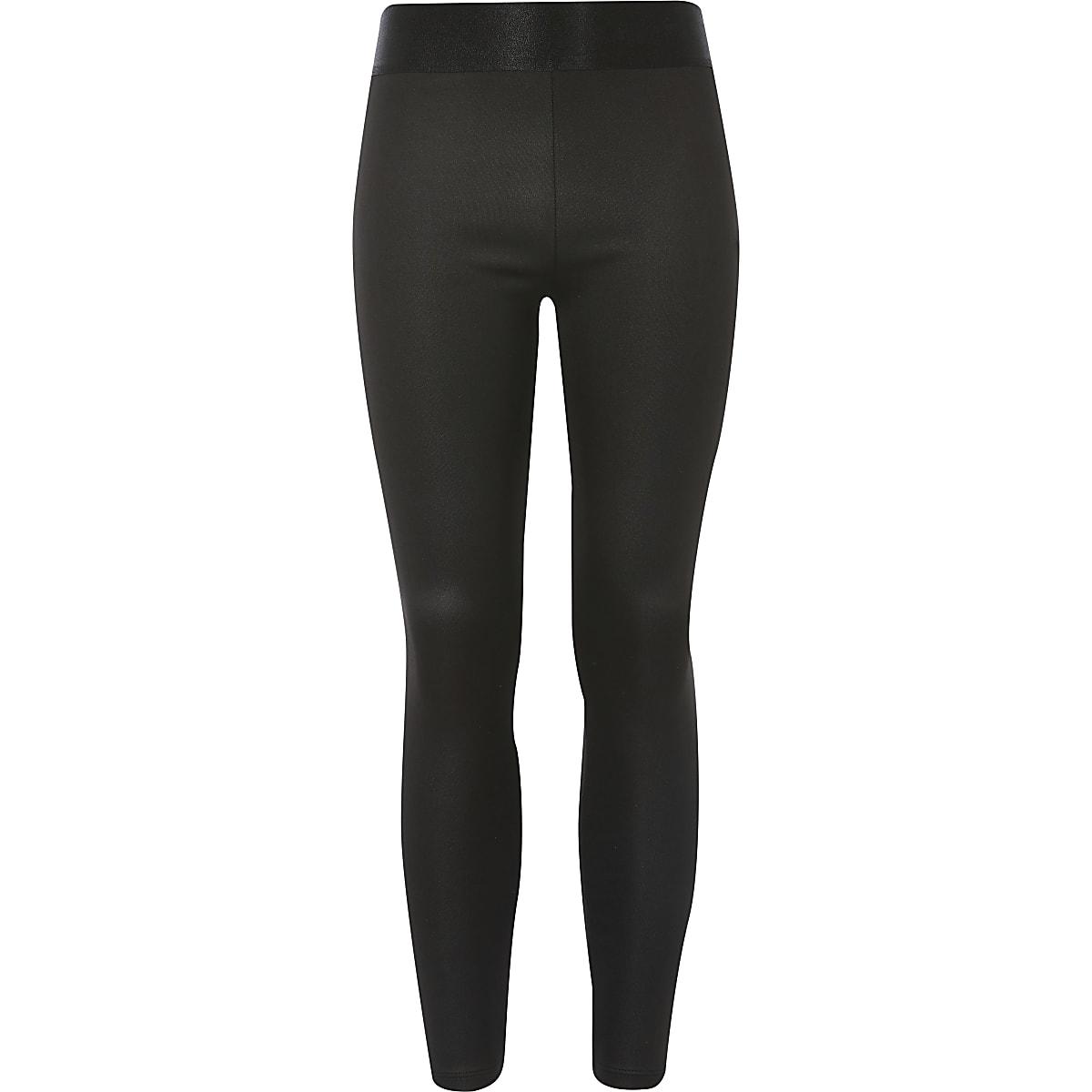 Girls black coated jersey leggings