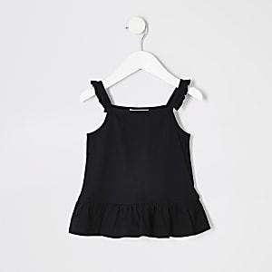 Mini girls black frill peplum cami top