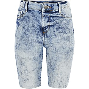 Kids acid wash denim cycling shorts