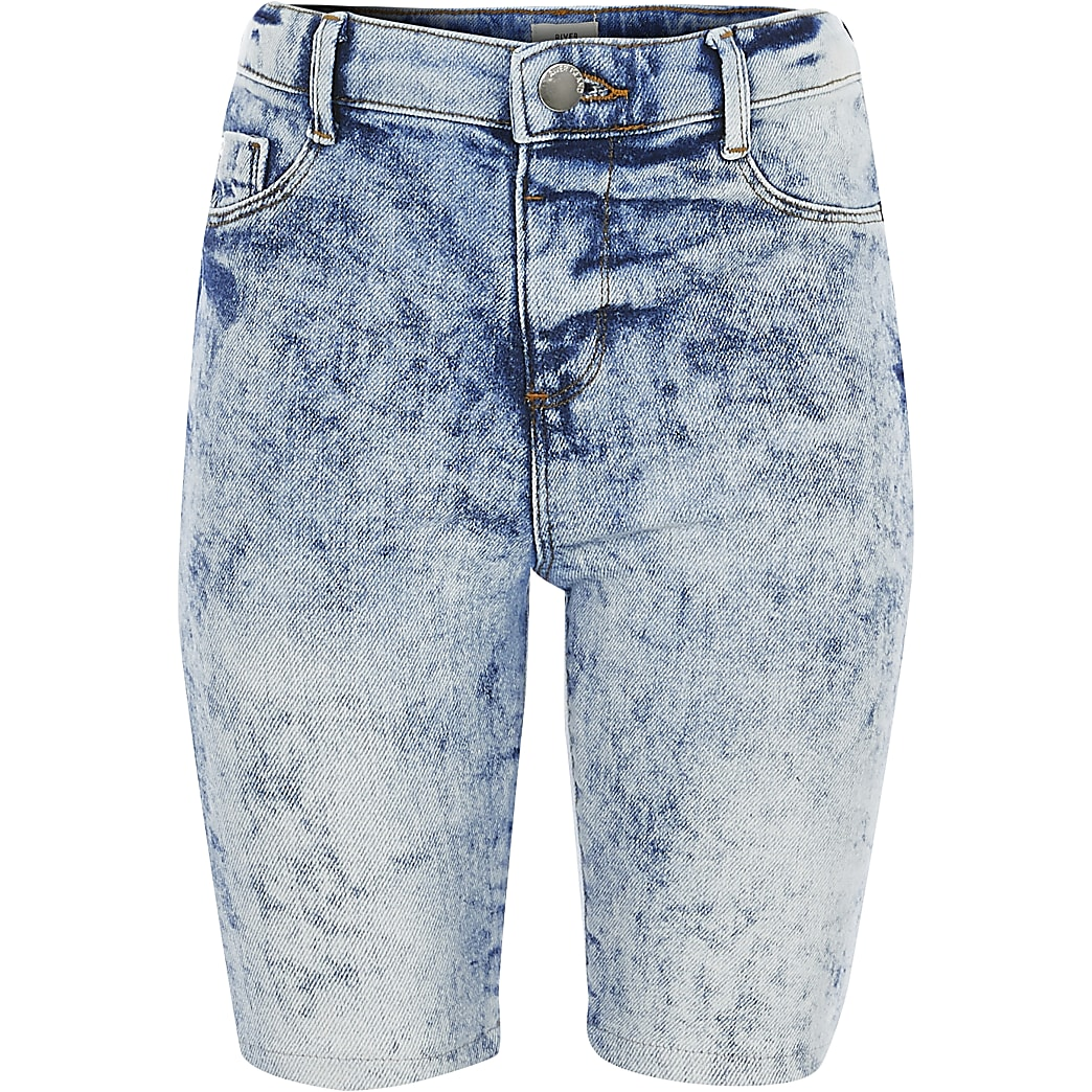Girls acid wash denim cycling shorts