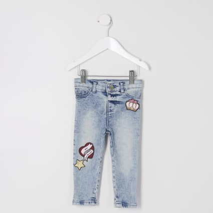 Girls light blue acid wash Molly jeggings
