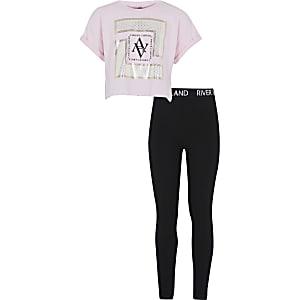 Ensemble avec t-shirt court roseà imprimé métallisé pour fille