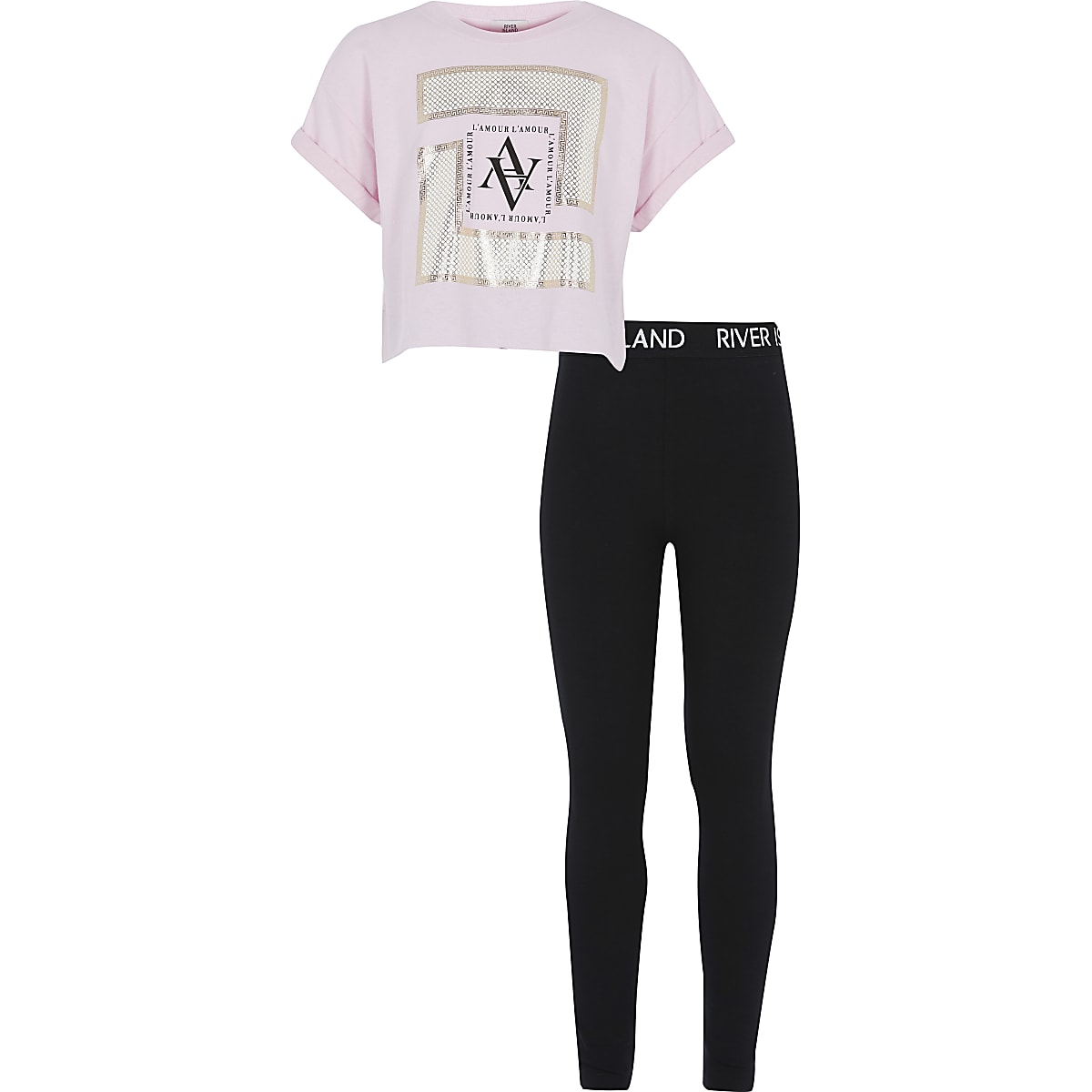 Girls pink foil printed crop T-shirt outfit