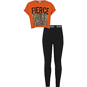 Ensemble avec t-shirt court « Fierce » orange pour fille
