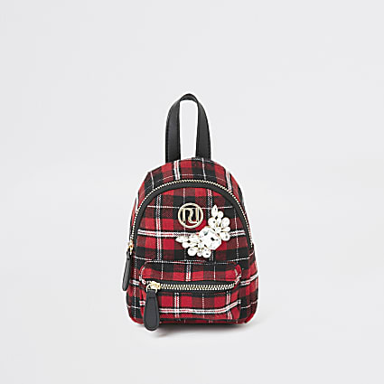 Girls red tartan embellished mini backpack