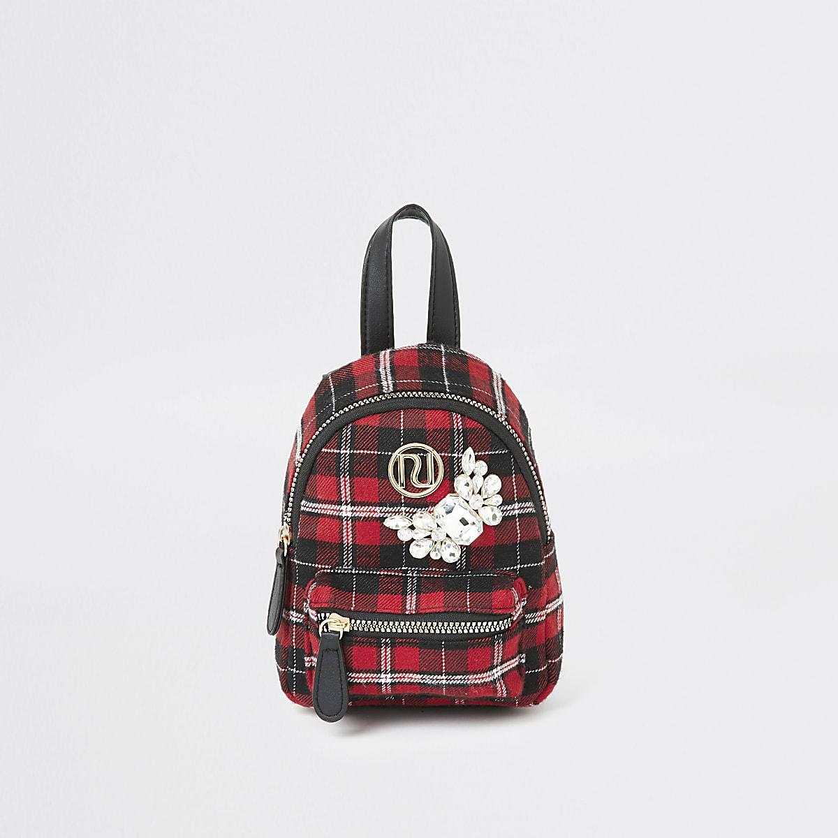 Girls red tartan embellished mini backpack