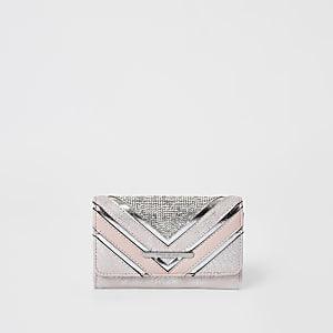 Pinke, dreifach aufklappbare Mädchen-Geldbörse aus Chevron mit Strass