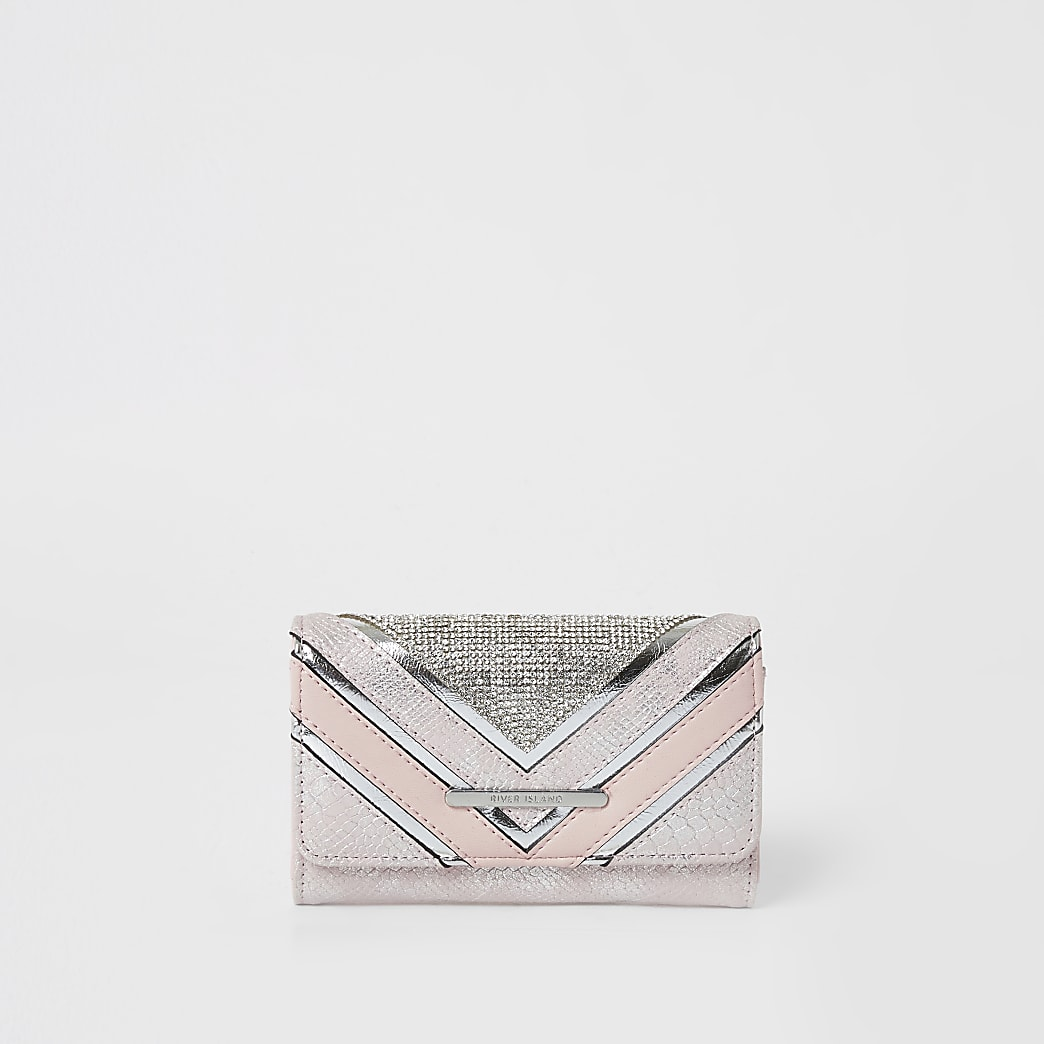 Girls pink chevron diamante trifold purse