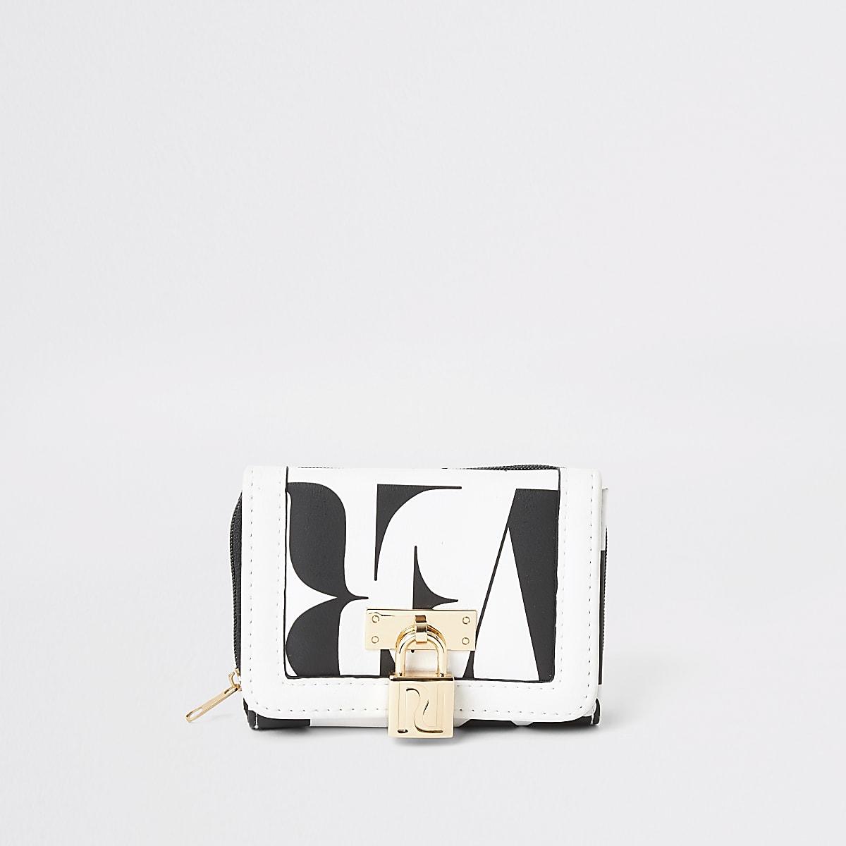 Girls white RI printed trifold purse