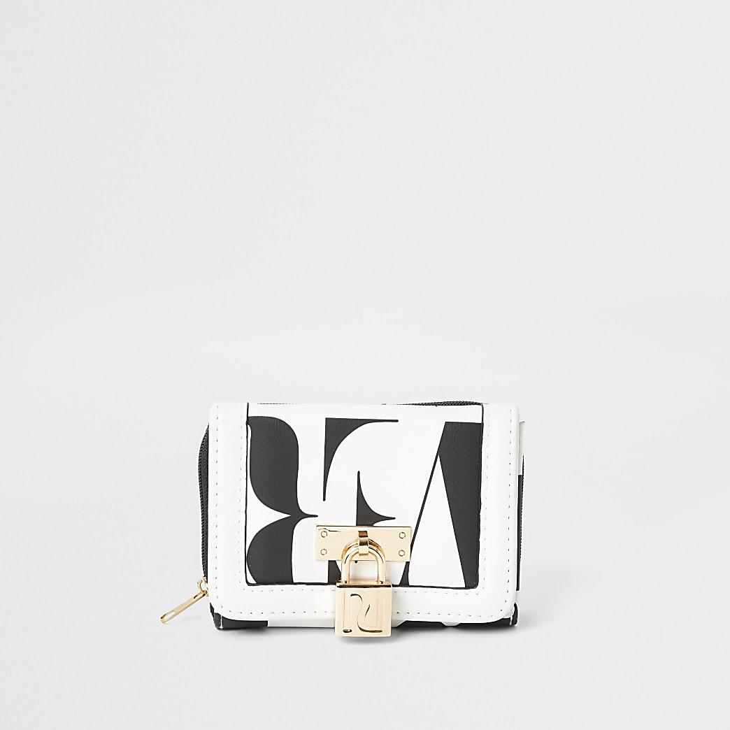 Witte vouwportemonnee met RI-print voor meisjes