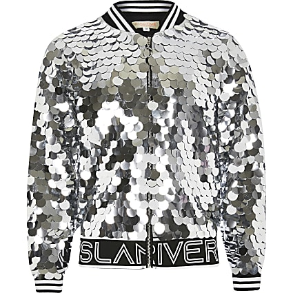 Girls silver sequin RI active bomber jacket