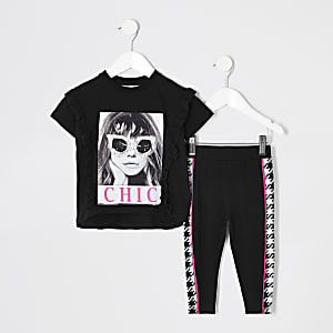 Mini girls black 'chic' embellished set