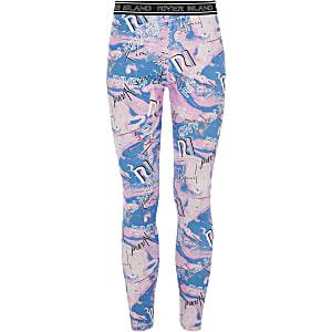 RI Active – Pinke Leggings mit RI-Print in Marmoroptik für Mädchen