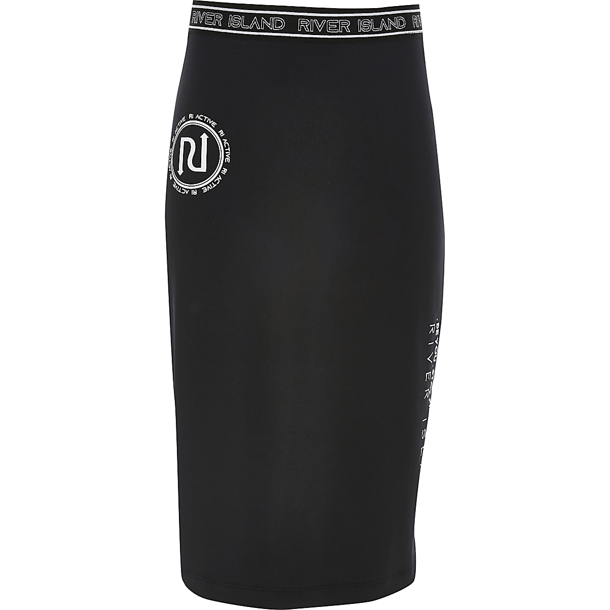 Girls black RI Active tube midi skirt