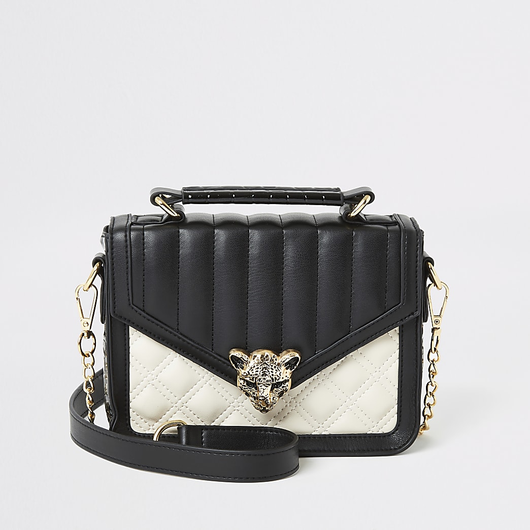 Zwarte gestikte satchel tas met panter gesp voor meisjes