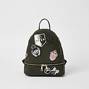 Mädchen-Rucksack in Khaki mit Aufnäher-Verzierung