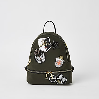 Girls khaki badge embellished backpack