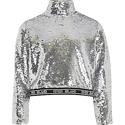 Girls silver RI Active sequin embellished top