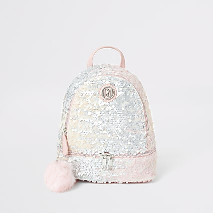 Girls pink sequin faux fur pom pom backpack
