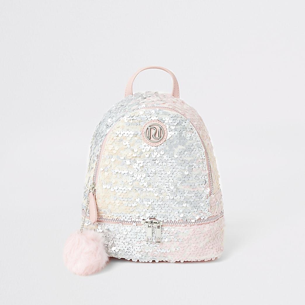 Girls pink sequin faux fur pom pom backpack