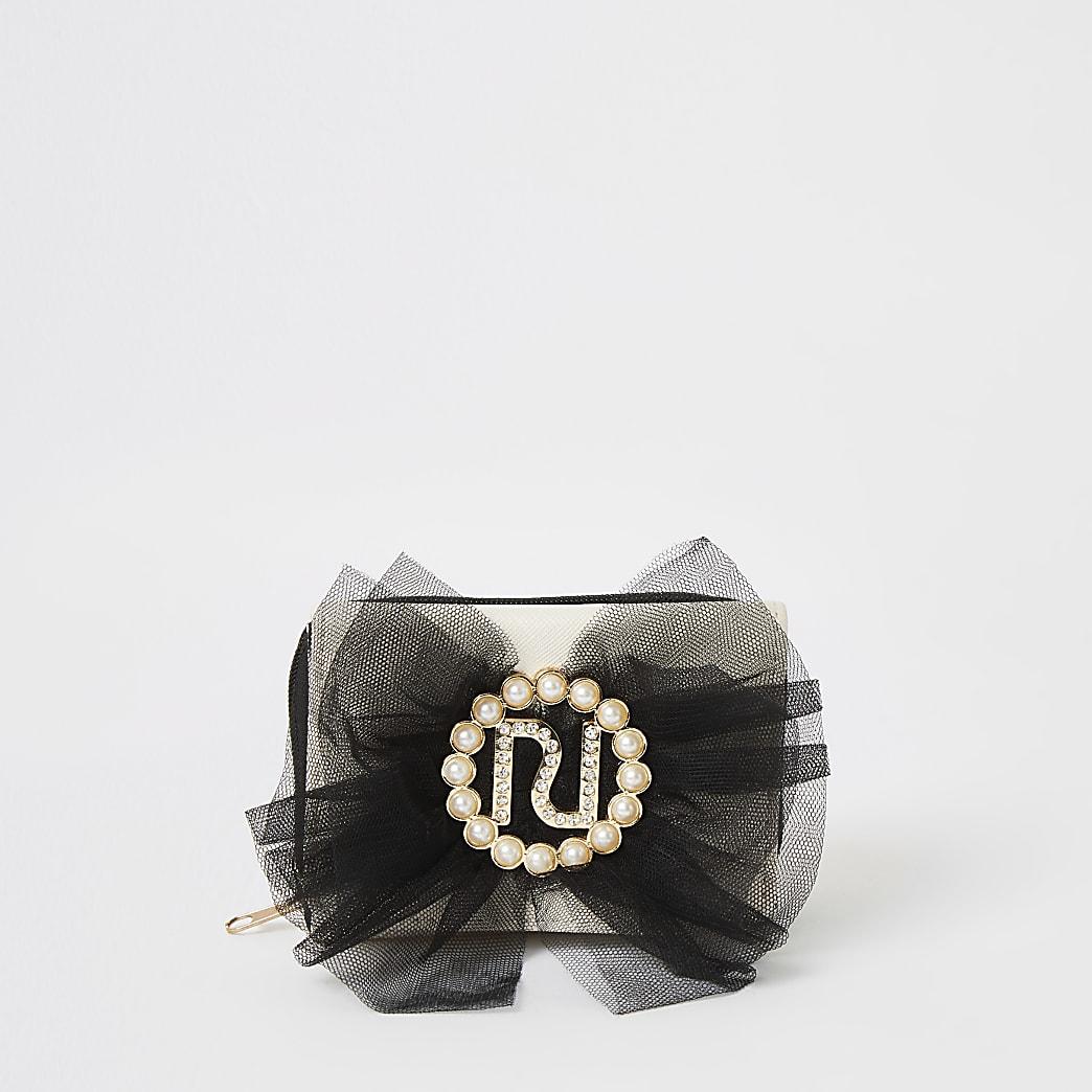 Crèmekleurige RI portemonnee met drie vakken met strik voor meisjes