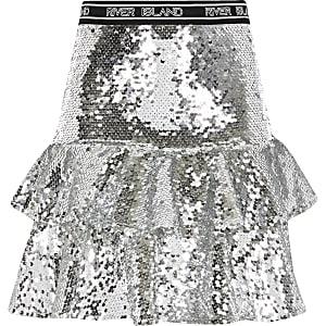 RI Active – Silberner Rüschenrock mit Pailletten für Mädchen