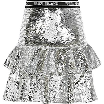 Girls silver sequin RI Active ruffle skirt
