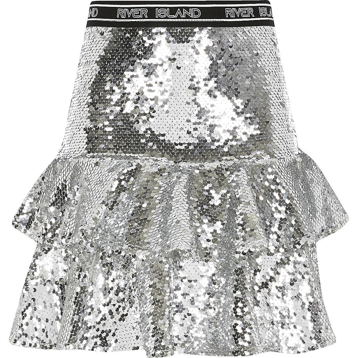 RI Active- Zilverkleurige rok met ruches en lovertjes voor meisjes