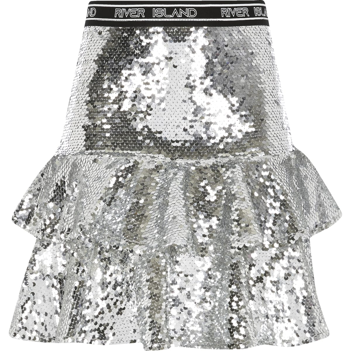 Girls silver sequin RI Active ruffle skirt