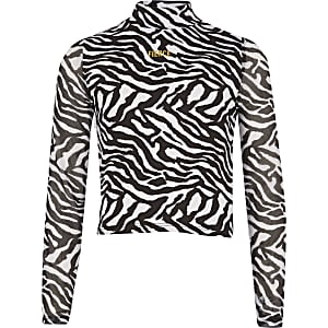 """Schwarzes Netzoberteil """"Fierce"""" mit Zebra-Muster für Mädchen"""