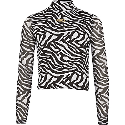 Girls black zebra print 'Fierce' top