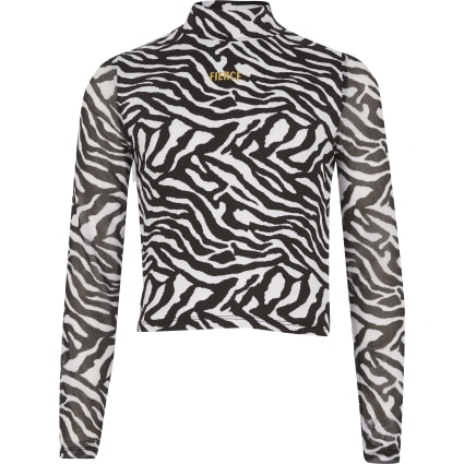 Girls black zebra print 'Fierce' mesh top