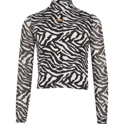 Girls black zebra print 'Fierce' mesh top