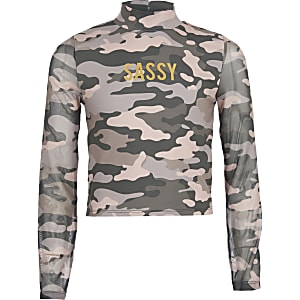 Girls pink camo 'Sassy' long mesh sleeve top