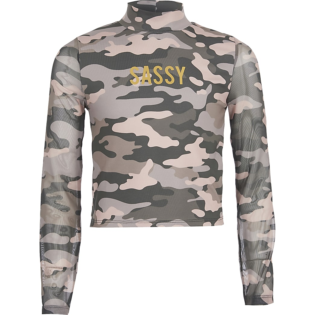 Roze 'Sassy'-mesh top met camouflageprint voor meisjes