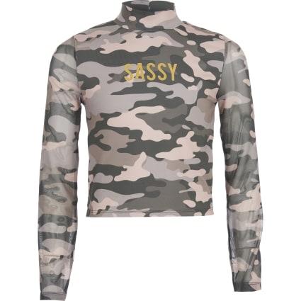 Girls pink camo print 'Sassy' mesh top