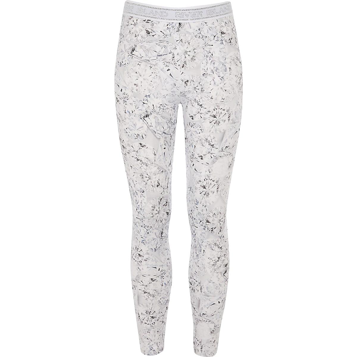 Girls RI Active silver diamond print leggings
