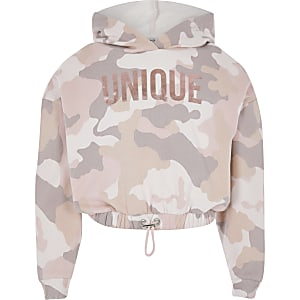 Sweat à capuche court « Unique » rose camouflage pour fille
