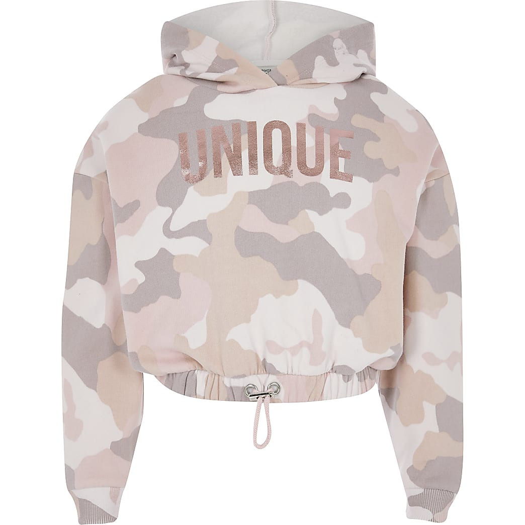 Girls pink camo 'Unique' cropped hoodie