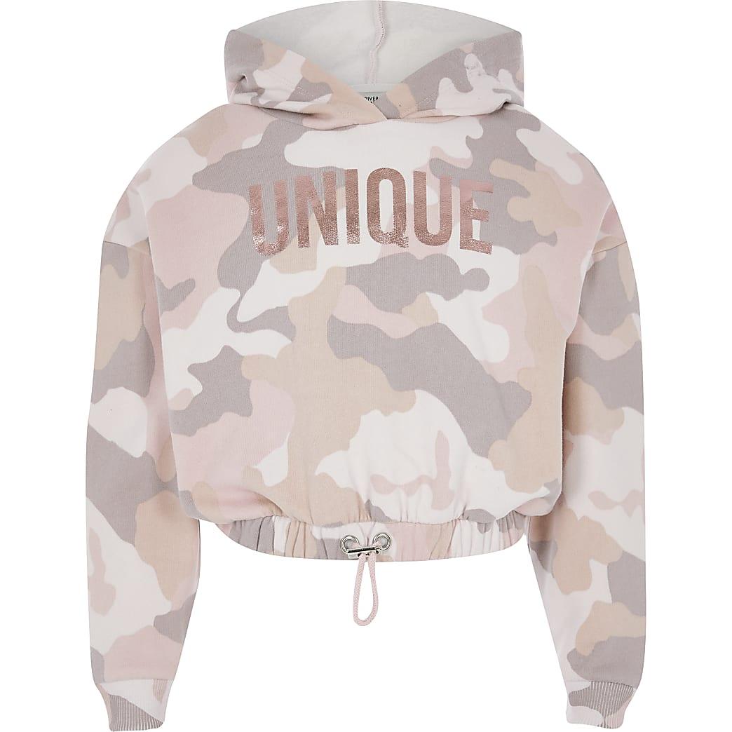 Sweat à capuche court « Unique » rose camouflage pour fille