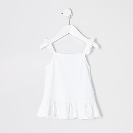 Mini girls white frill peplum cami top