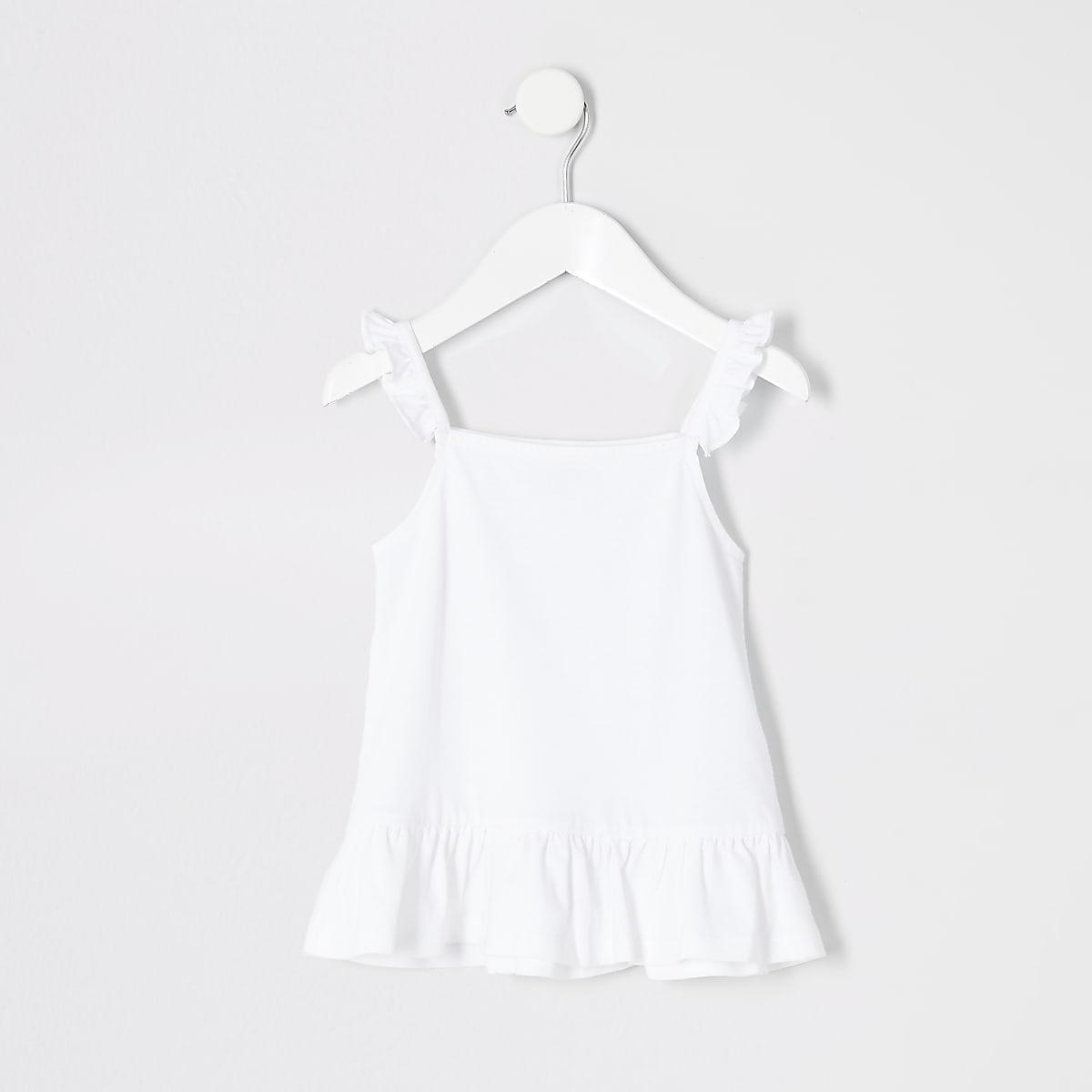 Mini girls white frill peplum cami top