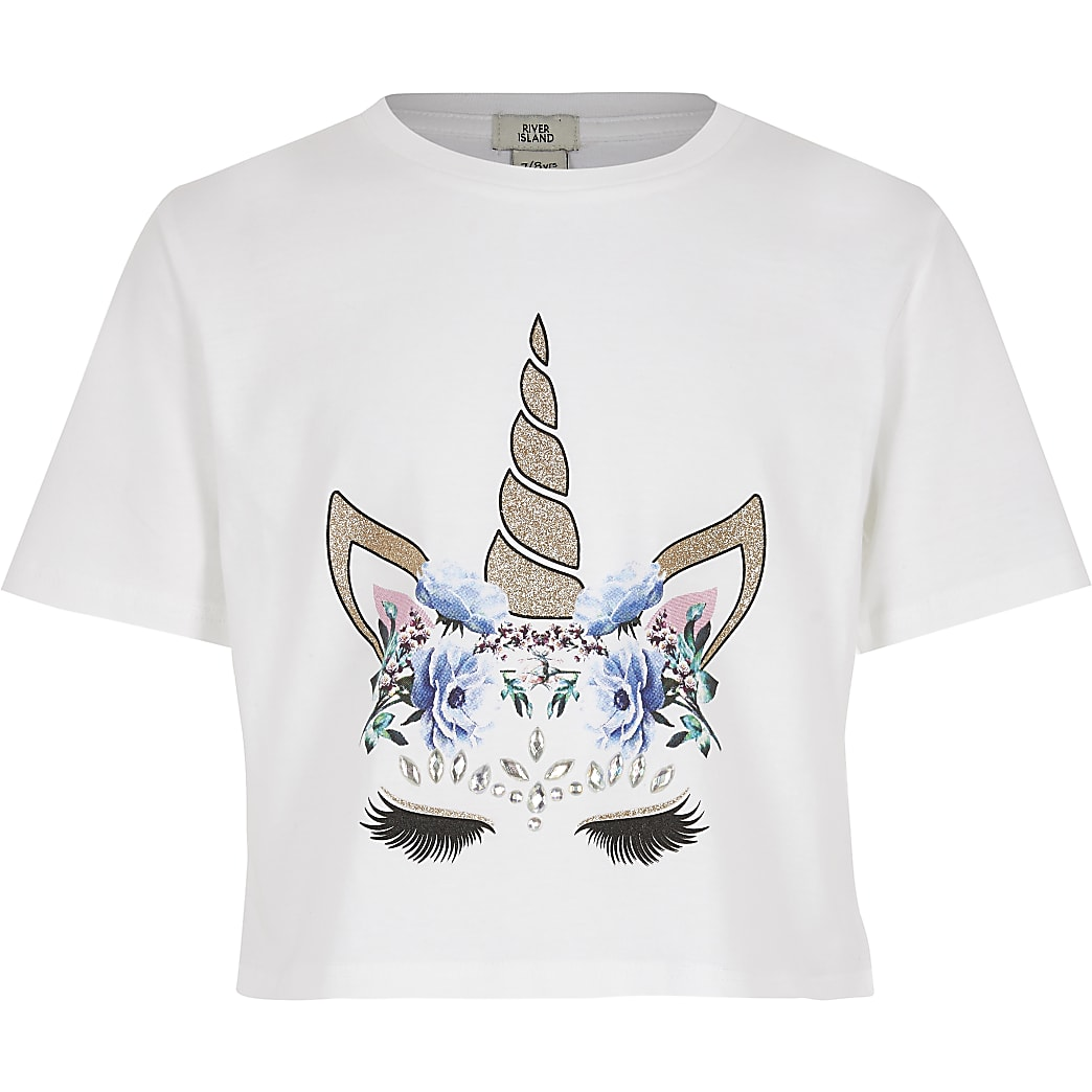 Girls unicorn print embellished white T-shirt