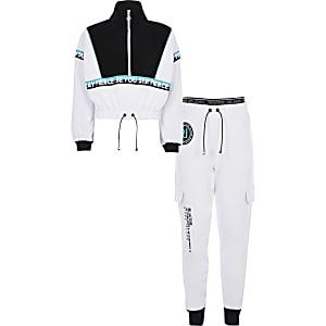Kurzes Jogging-Outfit RI Active in Weiß für Mädchen